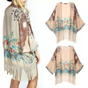 Jackets & Blazers - Women's Floral Kimono NWOT Sheer Fringe Taupe OSFM